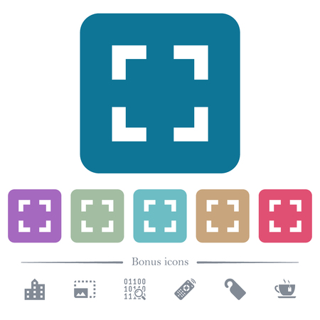Selector tool white flat icons on color rounded square backgrounds. 6 bonus icons included