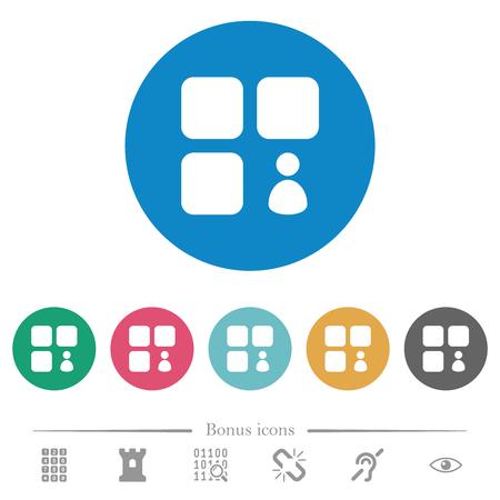 Component owner flat white icons on round color backgrounds. 6 bonus icons included. Ilustração