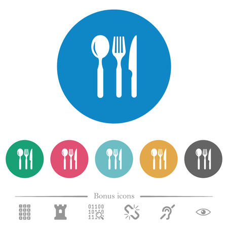 Restaurant flat white icons on round color backgrounds. 6 bonus icons included.