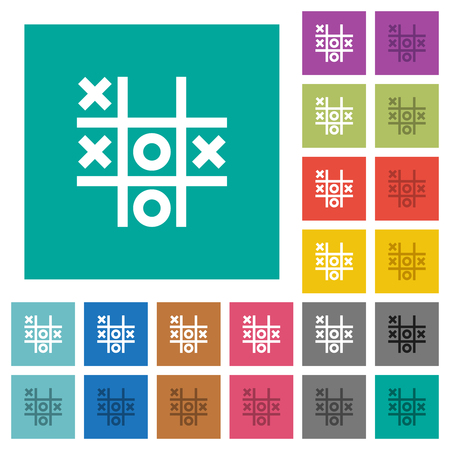 Tic tac toe game multi colored flat icons on plain square backgrounds. Included white and darker icon variations for hover or active effects.