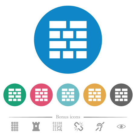 Brick wall flat white icons on round color backgrounds. 6 bonus icons included. Illustration