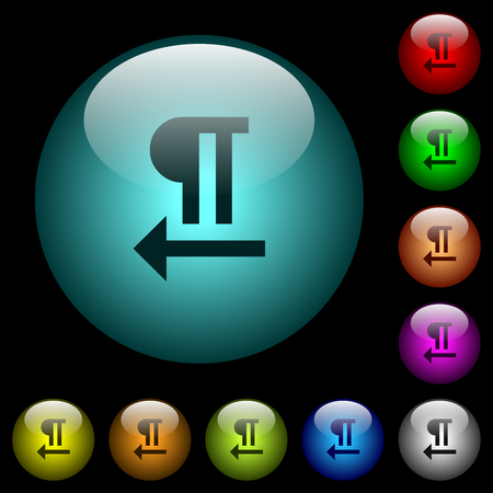 Right to left text direction icons in color illuminated spherical glass buttons on black background. Can be used to black or dark templates Vektorové ilustrace
