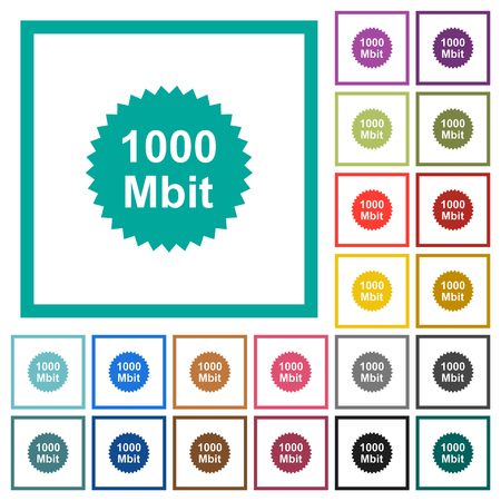 1000 mbit guarantee sticker flat color icons with quadrant frames on white background