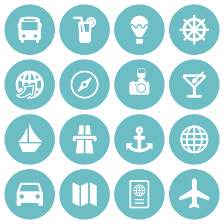 Set of 16 white flat travel icons on round light blue backgrounds Иллюстрация