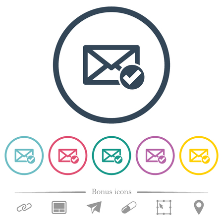 Mail read flat color icons in round outlines. 6 bonus icons included.