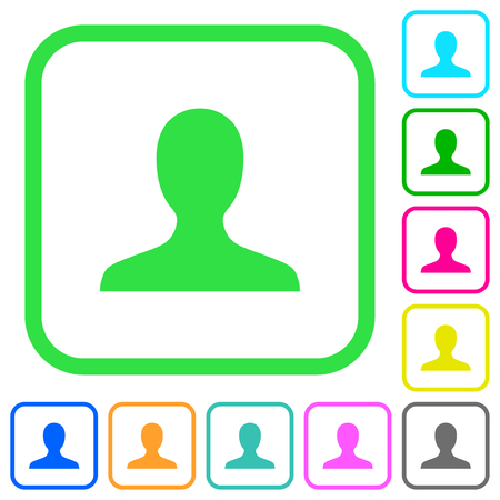User avatar vivid colored flat icons in curved borders on white background