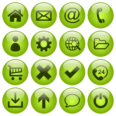 Set of 16 web icons in round yellowish green glass buttons Illustration