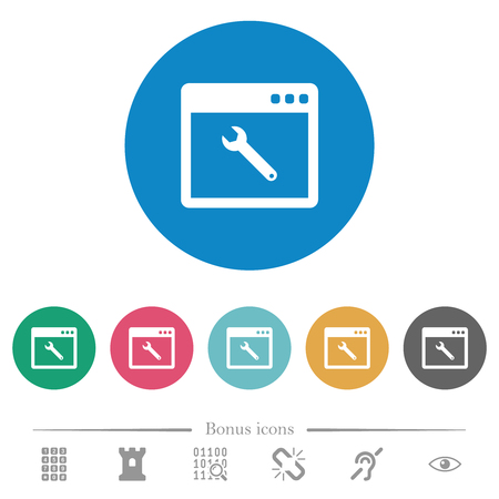 Application maintenance flat white icons on round color backgrounds. 6 bonus icons included.