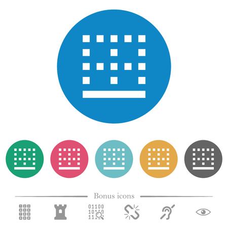 Bottom border flat white icons on round color backgrounds. 6 bonus icons included.