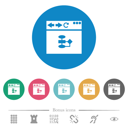 Browser flow chart flat white icons on round color backgrounds. 6 bonus icons included.
