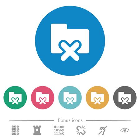 Cancel folder flat white icons on round color backgrounds. 6 bonus icons included. Illustration