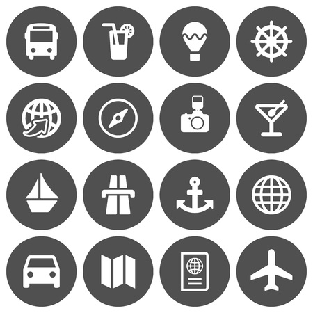 Set of 16 white flat travel icons on gray round background Illusztráció