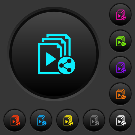 Share playlist dark push buttons with vivid color icons on dark grey background Ilustrace