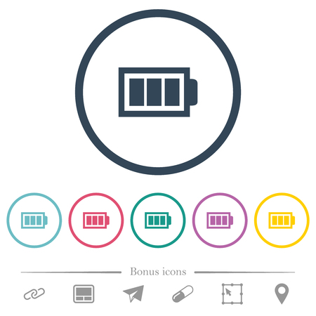 Full battery with three load units flat color icons in round outlines. 6 bonus icons included.