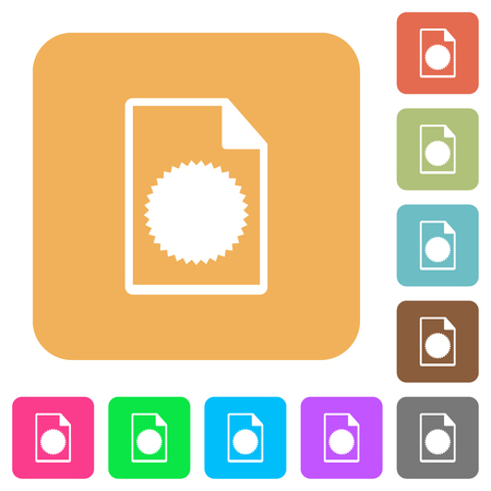 Certificate file flat icons on rounded square vivid color backgrounds.