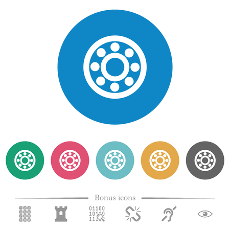 Bearings flat white icons on round color backgrounds. 6 bonus icons included.