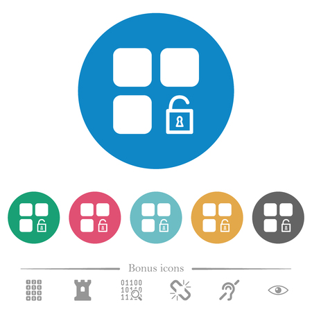 Unlock component flat white icons on round color backgrounds. 6 bonus icons included.