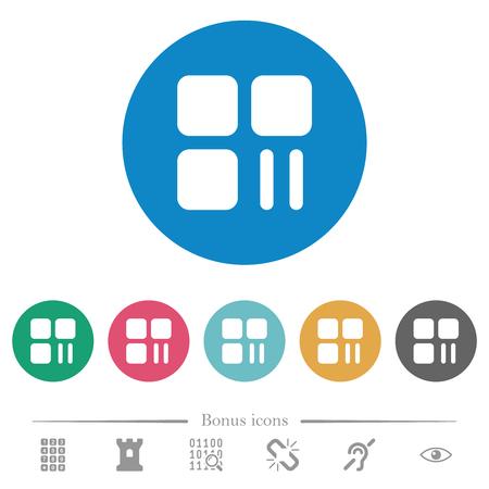 Component pause flat white icons on round color backgrounds. 6 bonus icons included. Ilustração