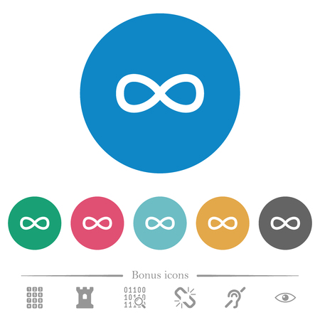 Infinity symbol flat white icons on round color backgrounds. 6 bonus icons included.