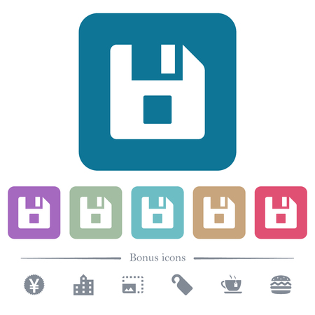File stop white flat icons on color rounded square backgrounds. 6 bonus icons included