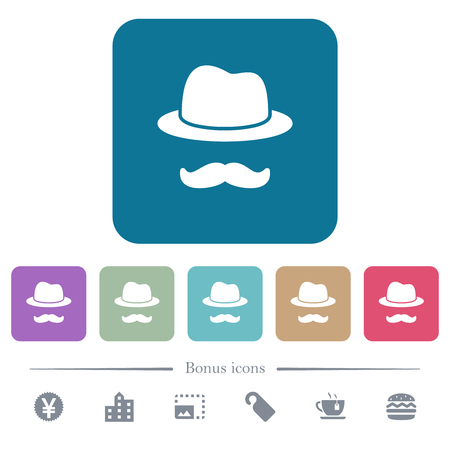 Incognito with mustache white flat icons on color rounded square backgrounds. 6 bonus icons included Çizim