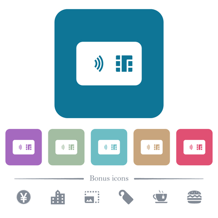 NFC chip card white flat icons on color rounded square backgrounds. 6 bonus icons included