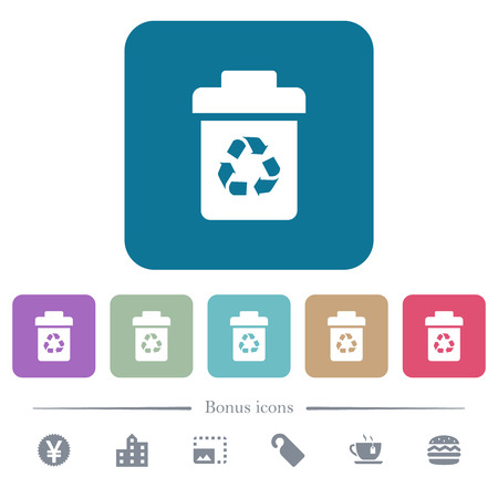 Recycle bin white flat icons on color rounded square backgrounds. 6 bonus icons included