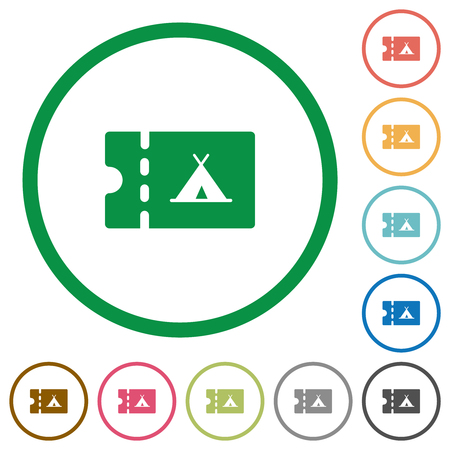 Camping discount coupon flat color icons in round outlines on white background