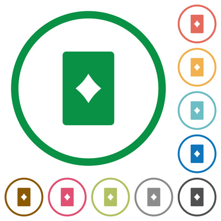 Diamond card symbol flat color icons in round outlines on white background