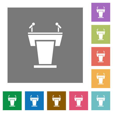 Conference podium with microphones flat icons on simple color square backgrounds
