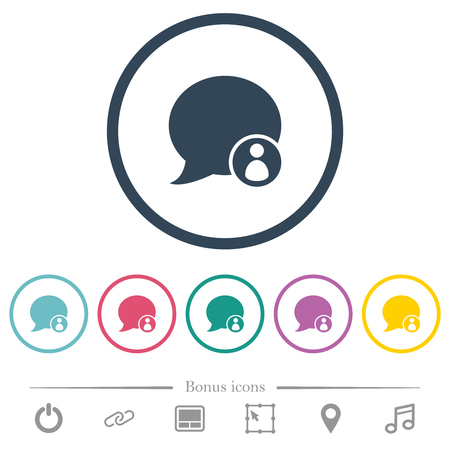 Blog comment sender flat color icons in round outlines. 6 bonus icons included.