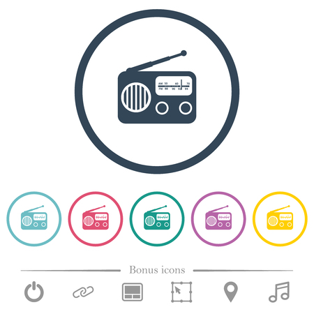 Vintage retro radio flat color icons in round outlines. 6 bonus icons included. Illustration