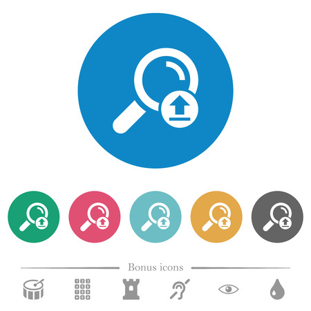 Upload search results flat white icons on round color backgrounds. 6 bonus icons included. Illustration