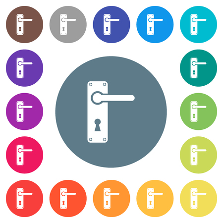 Right handed door handle with screws flat white icons on round color backgrounds. 17 background color variations are included.