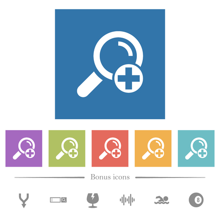 Add new search term flat white icons in square backgrounds. 6 bonus icons included.