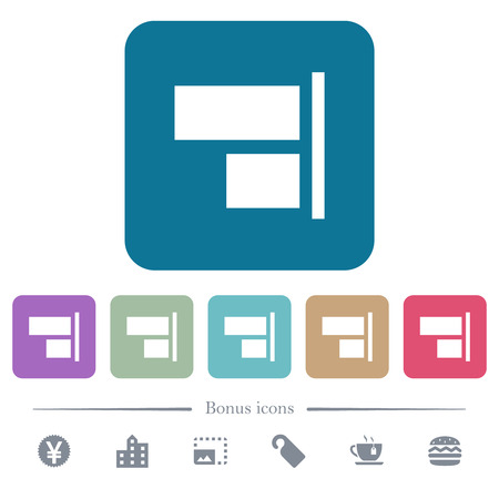 Align to right white flat icons on color rounded square backgrounds. 6 bonus icons included