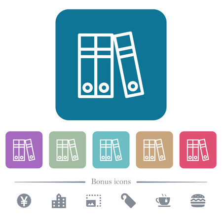 Document folders white flat icons on color rounded square backgrounds. 6 bonus icons included