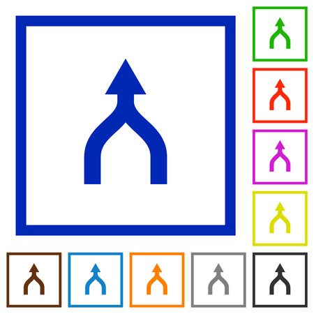 Merge arrows up flat color icons in square frames on white background Stock Illustratie