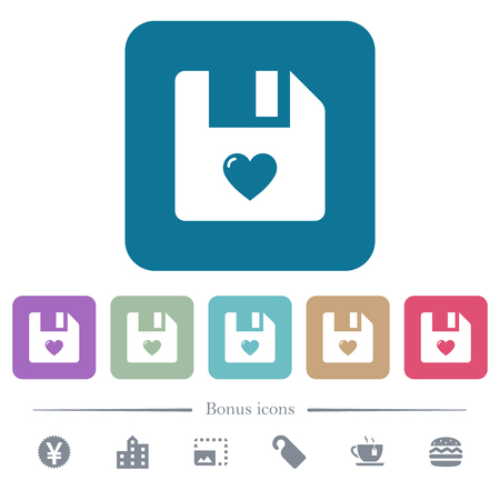 Favorite file white flat icons on color rounded square backgrounds. 6 bonus icons included