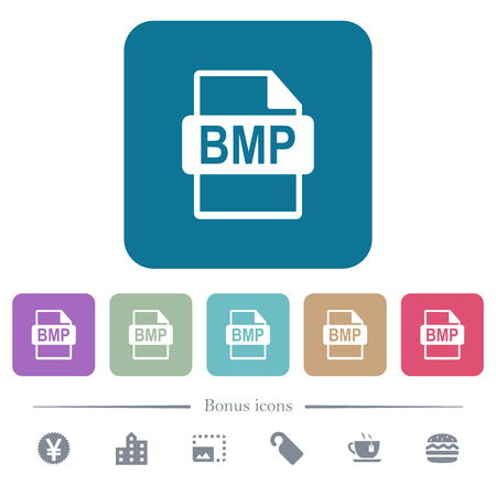 BMP file format white flat icons on color rounded square backgrounds. 6 bonus icons included