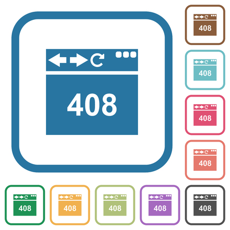 Browser 408 request timeout simple icons in color rounded square frames on white background