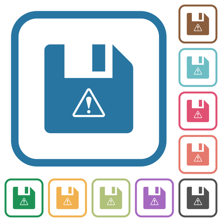 File warning simple icons in color rounded square frames on white background