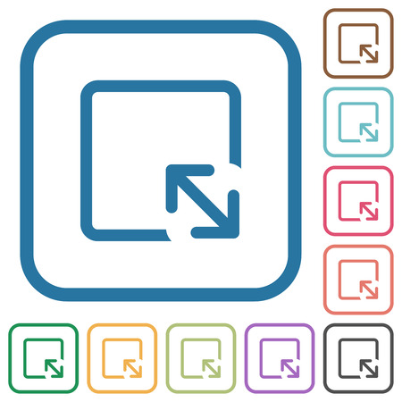 Resize object simple icons in color rounded square frames on white background