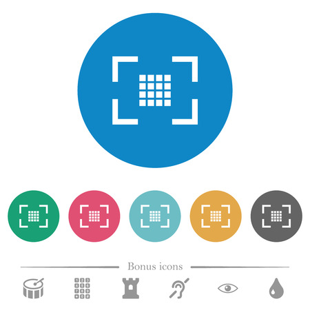Camera sensor settings flat white icons on round color backgrounds. 6 bonus icons included.