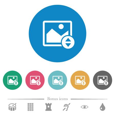 Mueva verticalmente los iconos blancos planos de la imagen sobre fondos de color redondos. Se incluyen 6 iconos de bonificación. Ilustración de vector