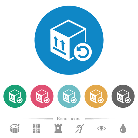 Package return flat white icons on round color backgrounds. 6 bonus icons included. Ilustração