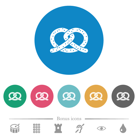 Salted pretzel flat white icons on round color backgrounds. 6 bonus icons included. Ilustração