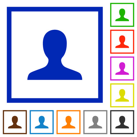 User avatar flat color icons in square frames on white background Çizim