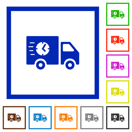Fast delivery truck flat color icons in square frames on white background