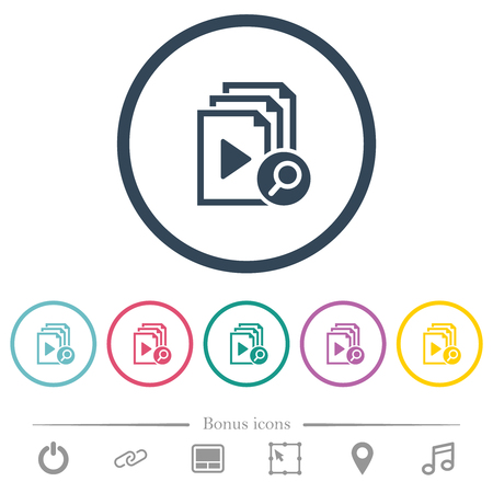 Find playlist item flat color icons in round outlines. 6 bonus icons included.